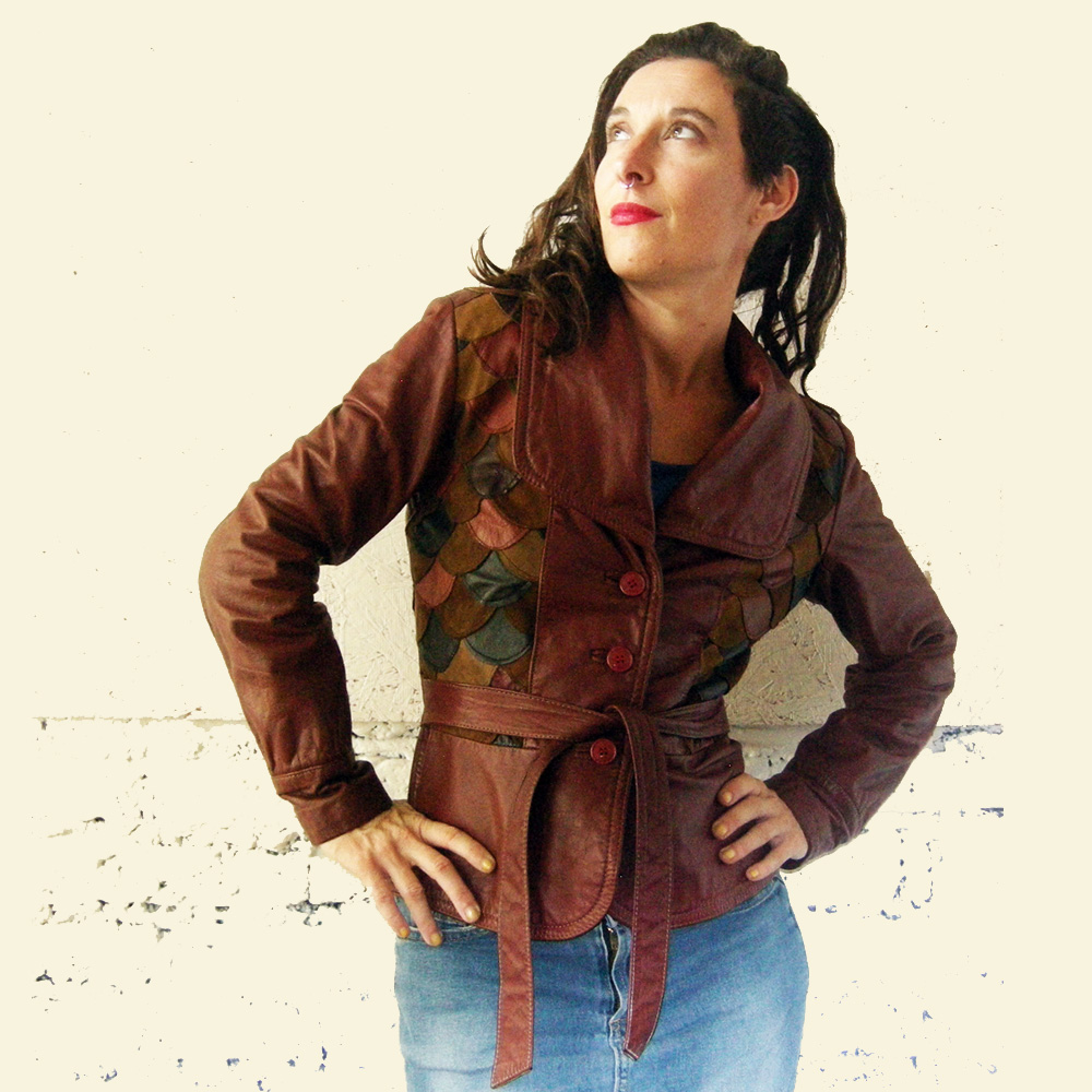 70s Leather Scale Patchwork Jacket